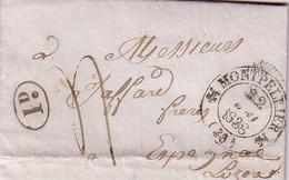 HERAULT - MONTPELLIER T12 DU 22-5-1838 + TAXE 4 MANUSCRITE - DECIME RURAL NOIR - POUR LA LOZERE - AVEC TEXTE ET SIGNATUR - Marcophilie (Lettres)