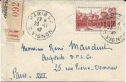 LETTRE RECOMMANDEE  1942  AVEC TIMBRE A 15 FR HOTEL DIEU DE BEAUNE - Marcophilie (Lettres)