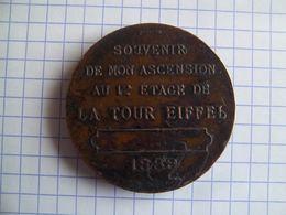 Médaille Souvenir Ascension 1er étage Tour Eiffel 1889 - Tourist