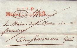 HERAULT - P.33P.  MONTPELLIER - EN ROUGE - 17 AOUT 1805 - LETTRE DE L'INSPECTEUR DE LA LOTERIE IMPERIALE POUR LE MAIRE D - Marcophilie (Lettres)