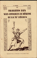 Bulletin Des Sous Officiers De Réserve De La 20° Région  N° 15 Octobre 1935 - Livres, BD, Revues