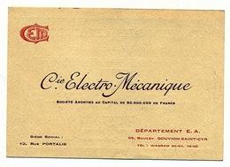 Cie ELECTRO MECANIQUE  EN BON ETAT - Visiting Cards