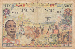 République Centrafricaine ( P#11 ) Billet De Banque 5000 Francs ~ Tb ~ 1980. RARE ! - República Centroafricana