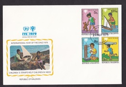 Maldives: FDC First Day Cover, 1979, 4 Stamps, Year Of Child, Children, Playing, Toys, UN Logo (white Tape At Back) - Maldiven (1965-...)