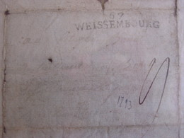 Armée Du Rhin -MP*67 / WEISSEMBOURG* Sur Lettre D'un Soldat De L'Armée De Custine à LANDAU -1793- TEXTE ! Mayence... - Marcofilia (sobres)