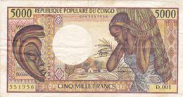 Billet République Populaire Du CONGO - 5000 Francs (1983) - Rare ! D 001 - 1er Alphabet - Congo