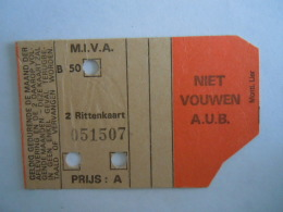 België Belgique Antwerpen M.I.V.A. Tram 2 Rittenkaart Ticket - Tram