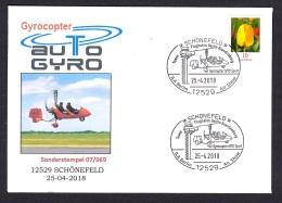 1.- GERMANY 2018 SPECIAL POSTMARK - GYROCOPTER AUTO GYRO - SCHONEFELD - Helicópteros
