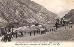 Ligne Viège-Zermatt Après L'éboulement 1907 (animée, Train, Edit. Louis Burgy) - VS Valais