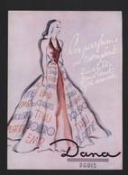 Pub Papier 1947 Parfum  Parfums Dana Parfumeur Paris Dessin Femme Facon Marrec Dos Carrere Signature Flacon - Publicités