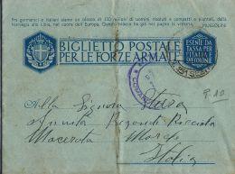 BIGLIETTO FRANCHIGIA WWII POSTA MILITARE 151 SEZ A 1943 PORTO EDDA ALBANIA RECANATI - 1900-44 Vittorio Emanuele III