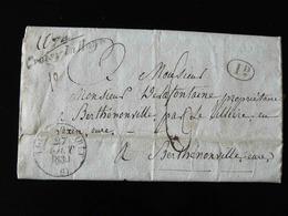 BEAU COURRIER DE L'ETAT CIVIL : EXTRAIT ACTE DE NAISSANCE DE 1783 POUR BERTHENONVILLE - 1839 - DIVERS CACHETS. - 1801-1848: Précurseurs XIX