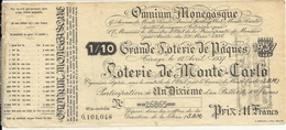 LOTERIE DE MONTE CARLO . SBM .PAQUES 1937 - Lottery Tickets