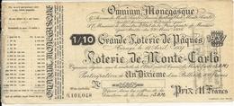 LOTERIE DE MONTE CARLO . SBM .PAQUES 1937 - Billets De Loterie
