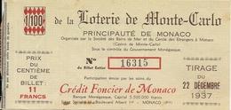 LOTERIE DE MONTE CARLO . SBM . CASINO DE MONTE CARLO .CREDIT FONCIER DE MONACO - Lottery Tickets