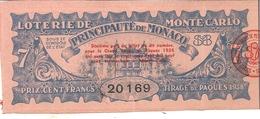 LOTERIE DE MONTE CARLO . PRINCIPAUTE DE MONACO . 7 - Billets De Loterie
