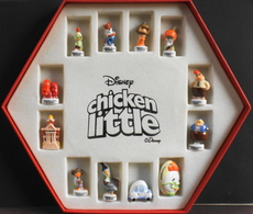 """12 Fèves Dans Le Coffret Collector """"Disney Chicken Little"""" Complet En Très Bon Etat - Disney"""