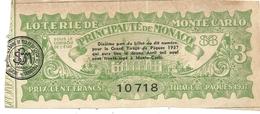 LOTERIE DE MONTE CARLO . PRINCIPAUTE DE MONACO. 3 - Billets De Loterie