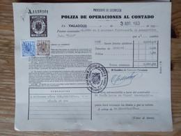 Q5025-SELLOS FISCALES TIMBROLOGIA FILATELIA FISCAL ENTEROS FISCALES POLIZA OPERACIONES AL CONTADO ETAPA DICTADURA FRANQU - Fiscales