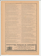 Presse 1909 Encart Publicité Manufacture Française De Carrousels Limonaire Frères Chevaux De Bois Manèges 216CH17 - Unclassified