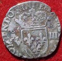 MONNAIE ARGENT 1/8 D'Ecu HENRI III - Croix De Face Fleurdelisée 1586 , FRANCE SILVER COIN - 987-1789 Monnaies Royales