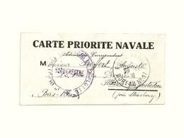 CARTE PRIORITE NAVALE Poste Marine Franchise Militaire 1er Dépôt Des équipages De La Flotte Cherbourg Naval 1939 WW 2 II - Poststempel (Briefe)