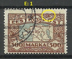 Estland Estonia 1924 Michel 54 E: 1 PLATE ERROR Abart O - Estonia