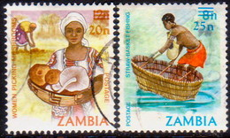 ZAMBIA 1985 SG #436-37 Compl.set Used Surcharges - Zambia (1965-...)