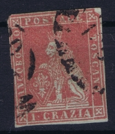 Italy  Toscana  Sa 4 Mi Nr  4y Obl./Gestempelt/used  Grey Paper - Toscane
