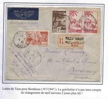 Maroc Morocco Marruecos Marokko Lettre Recommandée Avion Taza 9/7/1947 Cover Carta Belege - Cartas