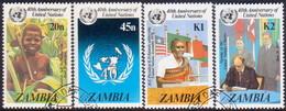 ZAMBIA 1985 SG #445-48 Compl.set Used 40th Anniv Of UN - Zambia (1965-...)