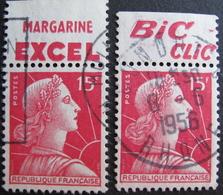 DF/890 - 1955 - MARIANNE DE MULLER - N°1011a Avec PUB - 1955- Marianne Of Muller