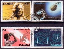 ZAMBIA 1986 SG #464-67 Compl.set Used Halley's Comet - Zambia (1965-...)