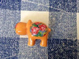 Feve Hippopotame Orange Fleuri - Animals