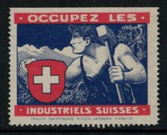 Suisse // Schweiz // Switzerland // Erinnophilie  // Vignette Occupez Les Industriels Suisses - Erinnophilie