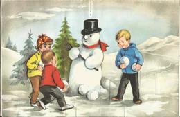 JOYEUX NOEL WEIHNACHTEN ILLUSTRATEUR LAGARDE  CP POP UP A SYSTEME SAPIN ENFANT KINDER BONHOMME DE NEIGE1966  2315/3 - Noël