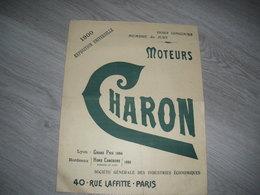 2 Pages Moteurs CHARON  40 Rue Laffitte PARIS Pétrole Essence Acétylène Gaz Charbon Bois Ect... - Unclassified