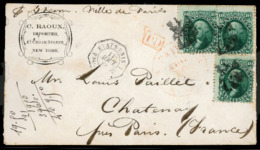 USA. 1866. (Aug.) From New York, Opened Out Advertising Envelope (Importer Corner Card) Franked By 1861-62 10c Dark Gree - United States