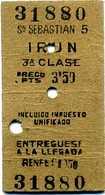Ticket De Train IRUN SAN SEBASTIAN RENFE Années 60 - Railway