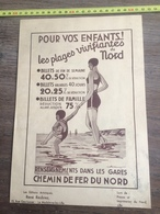 PUBLICITE CHEMIN DE FER DU NORD LA MADELEINE LEZ LILLE PLAGE DU NORD BOULOGNE CALAIS - Collections