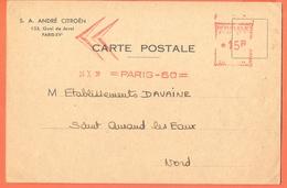 FRANCE  1950 Paris  Postcard André Citroën Red Meter Cancel Automobile - Voitures
