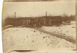 PHOTO ORIGINALE  SOLDATS PREMIERE GUERRE MONDIALE  DEVANT BARRAQUEMENT - Guerre, Militaire