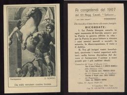 SANTINO COMMEMORATIVO 1907 SAN GIORGIO - AI CONGEDANTI DEL REGGIMENTO CAVALLERIA SALUZZO DI PORDENONE - Devotion Images