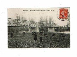 Cpa CHABRIS Bords Du Cher Et Pont De Chemin De Fer Moutons Et Enfants - Andere Gemeenten