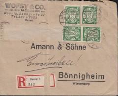 DANZIG  4x 194 Xb MeF Auf R-Brief Der Fa. Wofsy & Co., Gestempelt: Danzig 5.5.1925 - Dantzig