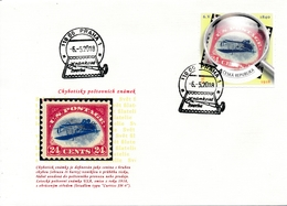 Czech Rep. / My Own Stamps (2018) 0794 FDC: The World Of Philately - Postage Stamps Printing Errors: USA (1918) - Timbres Sur Timbres
