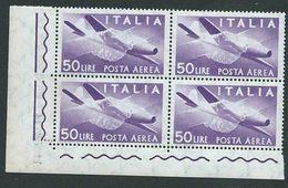 Italia 1957; Posta Aerea, Democratica Lire 50 Filigrana Stelle. Quartina D' Angolo. Nuova. - 6. 1946-.. Repubblica