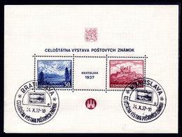 Czechoslovakia 1937 Philatelic Exhibition Souvenir Sheet Fine Used. - Tchécoslovaquie