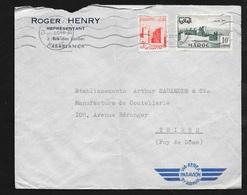 Maroc Lettre Par Avion Casablanca Le 10/10/1955 Pour Thiers N°349 Et Poste Aérienne N°  85   B/TB - Briefe U. Dokumente
