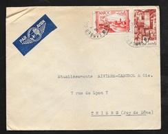 Maroc Lettre Par Avion Cambresia Et Cie Tanger Le 9/10/1949 Pour Thiers Avec Les N° 254 Et 261  B/TB - Briefe U. Dokumente